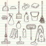 Outils de nettoyage de griffonnage illustration libre de droits