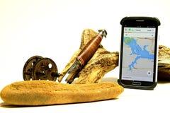 Outils de pêcheurs à la ligne par les âges Images stock