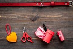 Outils de soin des animaux familiers et de toilettage avec le collier rouge sur l'espace en bois de vue supérieure de fond pour l Image libre de droits