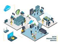 Outils de télécommunication Grand datacenter avec les systèmes et les serveurs spécifiques de nuage Illustrations isométriques de illustration libre de droits