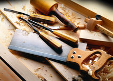 Outils de travail du bois Image libre de droits