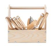 Outils de travail du bois dans la boîte à outils en bois d'isolement sur le blanc photographie stock libre de droits