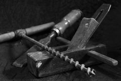Outils de travail en bois Images libres de droits