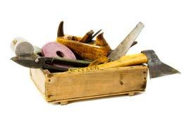 Outils de travail (hache, burin, avion et d'autres) dedans Photo stock