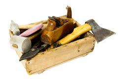 Outils de travail (hache, burin, avion et d'autres) dedans Photos libres de droits