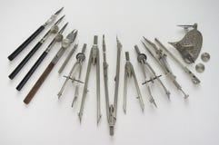 Outils de vintage utilisés pour le dessin image libre de droits
