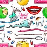 Outils dentaires colorés sans couture illustration de vecteur