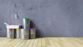 outils du mur 3Ds vide et de la peinture Photographie stock