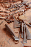 Outils du tailleur en bois Photos stock