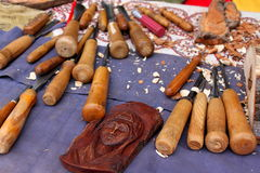 Outils en bois pour la sculpture Photos libres de droits
