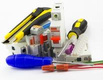 Outils et électricien de consommables images libres de droits