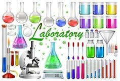 Outils et équipements de laboratoire illustration stock