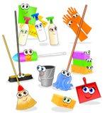 Outils et accessoires drôles pour le nettoyage Photographie stock libre de droits