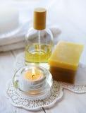 Outils et accessoires pour des traitements et la relaxation de station thermale Photo stock