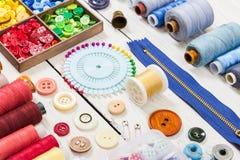 Outils et accessoires pour la couture Images libres de droits