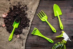 outils et au sol de jardin verts pour planter des fleurs sur la vue supérieure de fond en bois de table Photos libres de droits