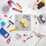 Outils et béton de composition photographie stock