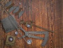 Outils et diamants de bijoutier de vintage Image libre de droits
