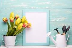 Outils et fleurs de jardinage Photographie stock