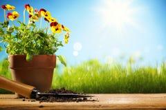 Outils et fleurs de jardinage extérieurs Photos libres de droits
