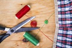 Outils et kit de couture de couture Photo stock
