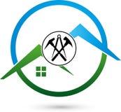 Outils et logo de toit, de roofer et de construction Photos stock