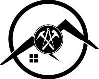 Outils et logo de toit, de roofer et de construction, label d'autocollant Image stock