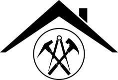 Outils et logo de toit, de roofer et de construction, label d'autocollant Photographie stock libre de droits