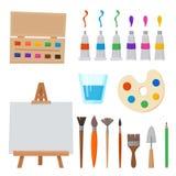 Outils et matériaux pour peindre et créature d'art pour l'artiste illustration de vecteur