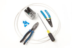 Outils et pièces d'Electricial Photos stock