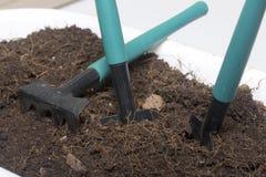 Outils miniatures pour la floriculture Petits pelles et râteaux pour cultiver la terre dans des pots de fleur Photographie stock libre de droits