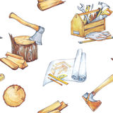 Outils peints à la main de menuiserie d'ensemble Profession, passe-temps, illustration de métier Hache d'aquarelle, modèles, boît illustration de vecteur