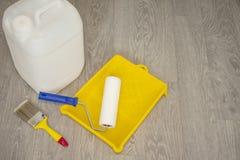Outils pour amorcer les surfaces plâtrées Photographie stock