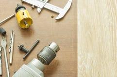 Outils pour des trous de forage en bois et métal Photo libre de droits