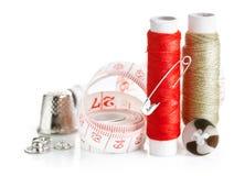 Outils pour l'amorçage et le ruban métrique de couture Images stock