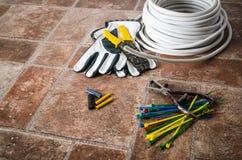 Outils pour l'installation électrique, plan rapproché Photo libre de droits