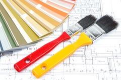 Outils pour la rénovation à la maison sur le retrait architectural Illustration Stock