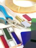 Outils pour le verre coloré image stock