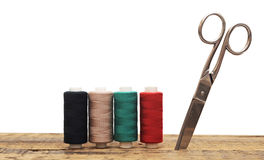 Outils pour les amorçages colorés de couture Photos libres de droits