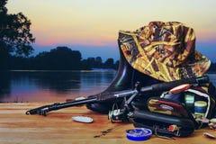 Outils pour pêcher avec la rotation Photos libres de droits