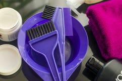 Outils pour peindre des cheveux Photo libre de droits