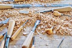 Outils de travail en bois Images stock