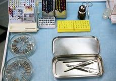 Outils stériles du dentiste Images libres de droits