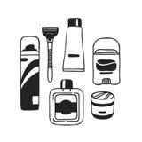 Outils tirés par la main d'illustration pour le rasage Oeuvre d'art créative d'encre Dessin masculin de vecteur réel Photographie stock