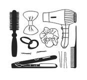 Outils tirés par la main de cheveux d'illustration Oeuvre d'art créative d'encre Peigne réel de dessin de vecteur sèche-cheveux,  Image libre de droits