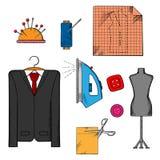 Outils, tissu et accessoires de tailleur Photos stock
