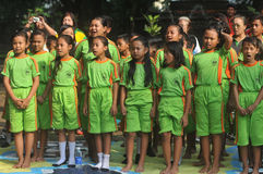 Outing Class Student. Children sing during the outing to the city park in Solo, Indonesia Stock Photo