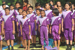 Outing Class Student. Children sing during the outing to the city park in Solo, Indonesia Royalty Free Stock Photos
