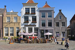 Outing in Goedereede on terrace Hotel Gouden Leeuw Royalty Free Stock Images