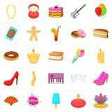 Outing icons set, cartoon style Stock Photos